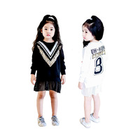Spring Fall Embroidered V Sequin Mesh Bottom Patch Back Letter Print Baby Girls Tee Dress Kid