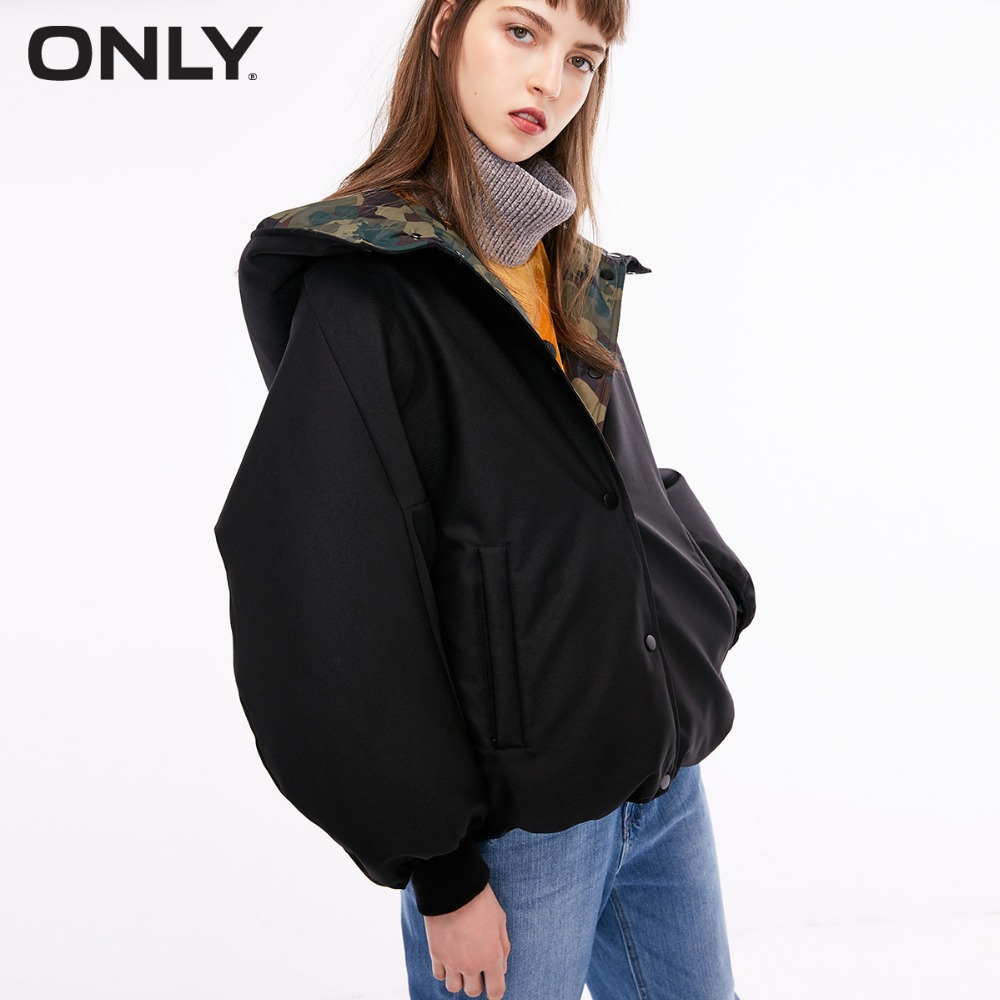 ONLY  Women's Loose Fit White Duck Down Reversible Check Pattern 90% Down Jacket |118323526