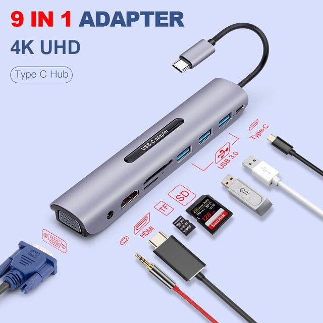 USB C Dock תחנת thunderbolt 3 סוג c כדי HDMI VGA USB TF SD כרטיס עם 3.5 AUX אודיו שקע HD ממיר מתאם עבור Macbook pro