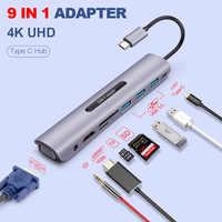 Usb c doca estação thunderbolt 3 tipo-c para hdmi vga usb tf cartão sd com 3.5 aux áudio jack adaptador conversor hd para macbook pro