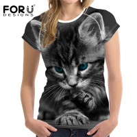 FORUDESIGNS 3D Cat T Shirt For Women Top Cute Casual T Shirt Femme Bodybuilding Ladies Short