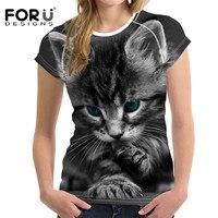 FORUDESIGNS 3D Cat T Shirt For Women Top Cute Casual T Shirt Femme Bodybuilding Ladies Short