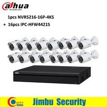 Dahua Surveillance System 16ch video recorder 1pcs NVR5216-16P-4KS2 16poe port H.265 and 16pcs IPC-HFW4421S IP camera lens3.6mm