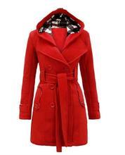 Mode Femmes Manteau Wasit Bouton Taille Veste Manteau À Manches Longues Mélanges Plus Size S-3XL LJ7831M