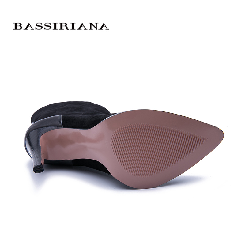 BASSIRIANA 2019 new Sexy Fashion Women Boots Zip High heels Boots Lady Pointed toe Boots Color Black Size 35 40 in Mid Calf Boots from Shoes