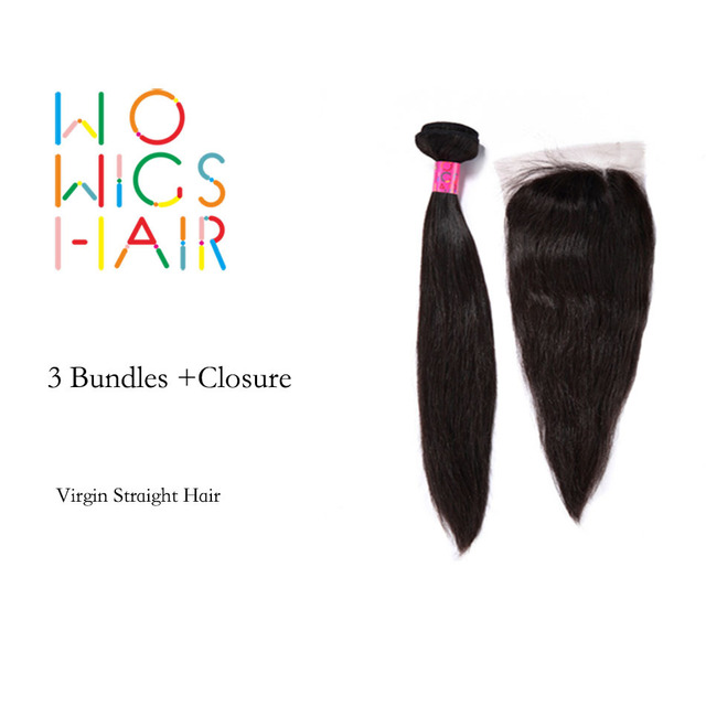 WoWigs Hair Malaysian Virgin Hair Straight 3 Bundles Deal With Top Lace Closure Natural Color 1B
