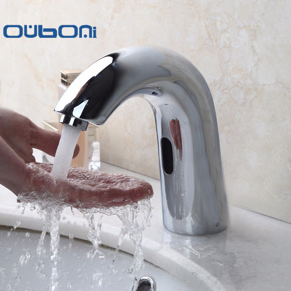 OUBONI Luxury Chrome Brass Bathroom Sink Automatic Faucet Sensor Activated Hot And Cold Bathroom Sink Faucets Tap Sense Faucets