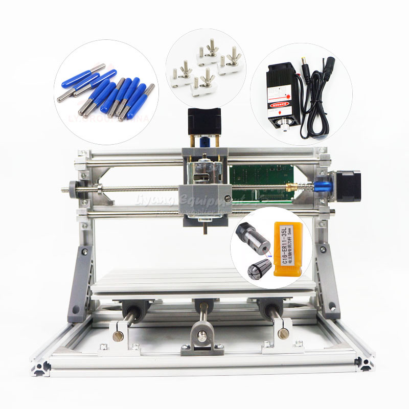 Multifunction diy 2 in 1 mini CNC 2418 PRO laser engraving cutting machine GRBL control with glass mini clamps degree tips