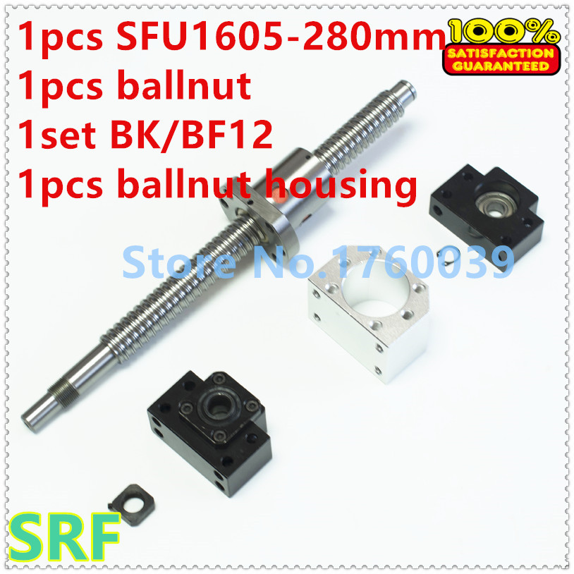 1605 Ballscrew set:1pcs 16mm Ball screw SFU1605 L=280mm C7+1pcs single Ballnut +1set BK/BF12 support+1pcs ballnut housing sfu3210 ball screw l1000mm ballscrew 1pcs single ballnut