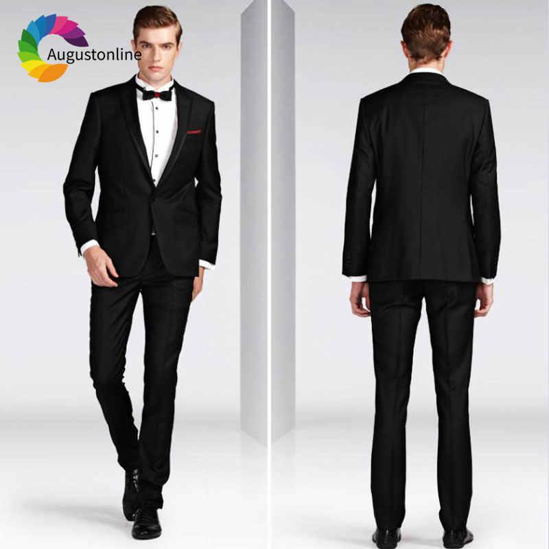 黒人男性の結婚式のスーツスーツのズボン、黒は 2 個スリムフィットブレザージャケットカスタムメイド花婿の付添人スーツ