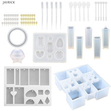 75 Pieces Jewelry Casting Molds Silicone Resin with 50 Screw Eye Pins, 5 Plastic Stirrers, Spoons, Pla