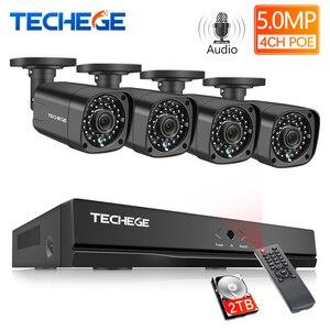 Image 1 - Techege H.265 CCTV System POE NVR Kit 4CH 5MP Audio Record Im Freien Wasserdichte POE IP Kamera Home Security Kamera System