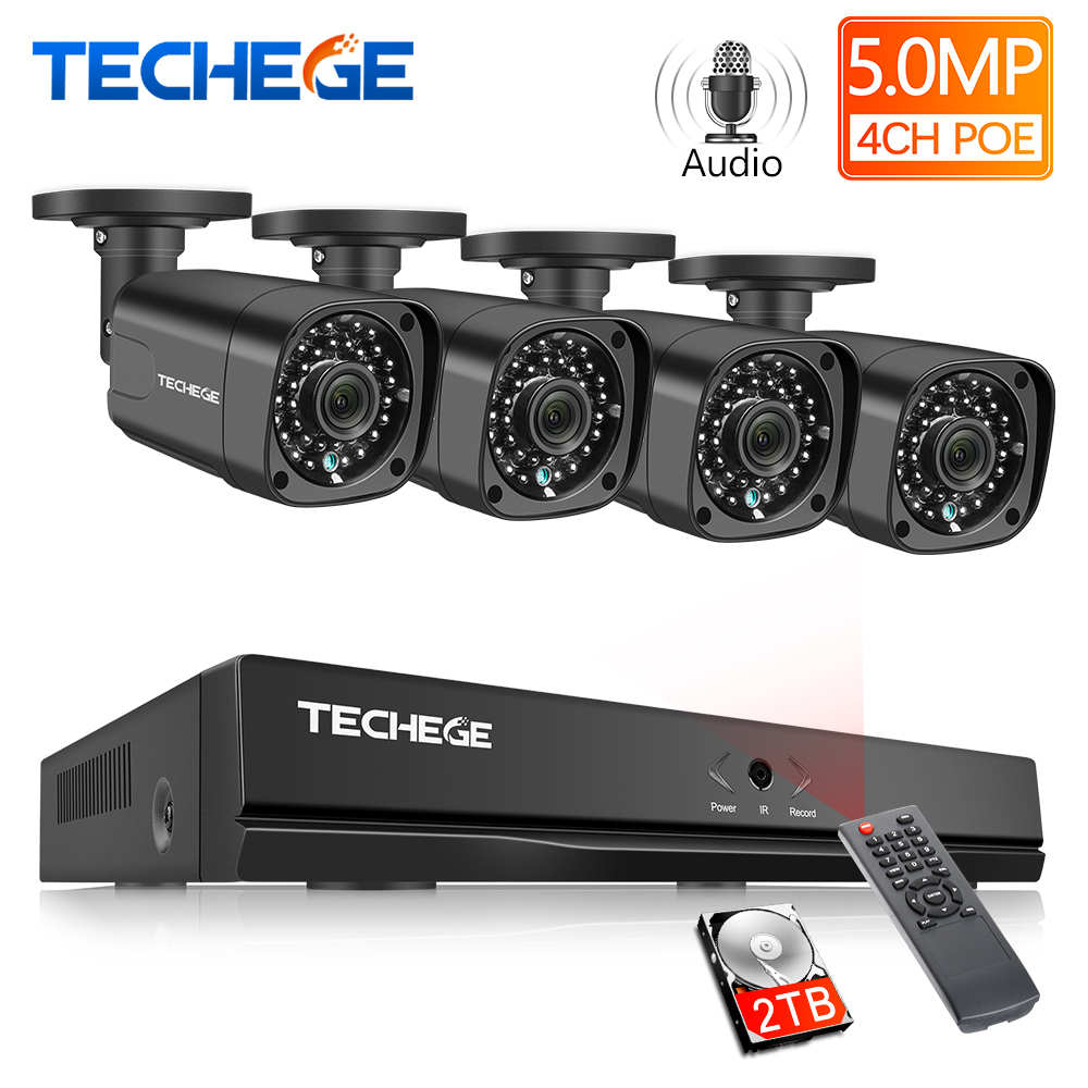 Techege H.265 système de vidéosurveillance POE NVR Kit 4CH 5MP enregistrement Audio extérieur étanche POE IP caméra système de caméra de sécurité à domicile