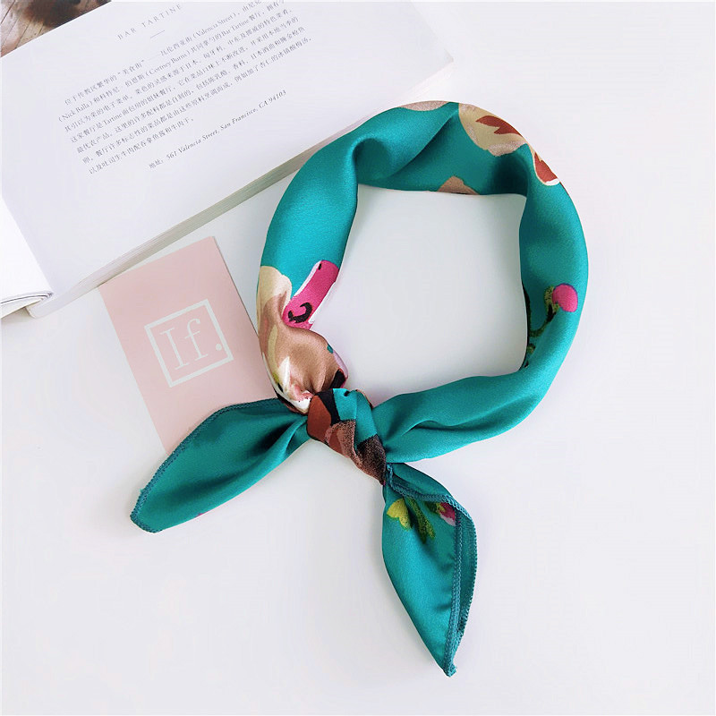 50*50cm New Summer Beach Fashion Clothes Accessories Women Floral Vintage Scarf Head Kerchief Neck Elegant Square Neckerchief