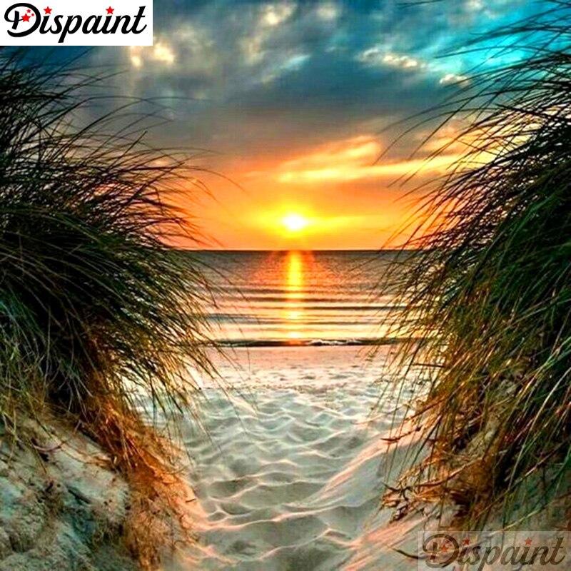 """Dipaint полная квадратная/круглая дрель 5D DIY Алмазная картина """"Закат Пляжный Пейзаж"""" 3D вышивка крестиком 5D домашний декор A10346"""