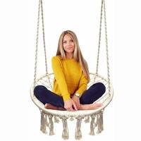 Round Hammock Swing Hanging Chair Outdoor Indoor Furniture Hammock Chair For Garden Dormitory Child Adult Safety Chair Hammock
