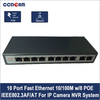 8CH POE Switch 10/100M 150m Distance 120W DC& 2Lan Port IP Camera CCTV System NVR POE Power Supply Adapter POE 8CH