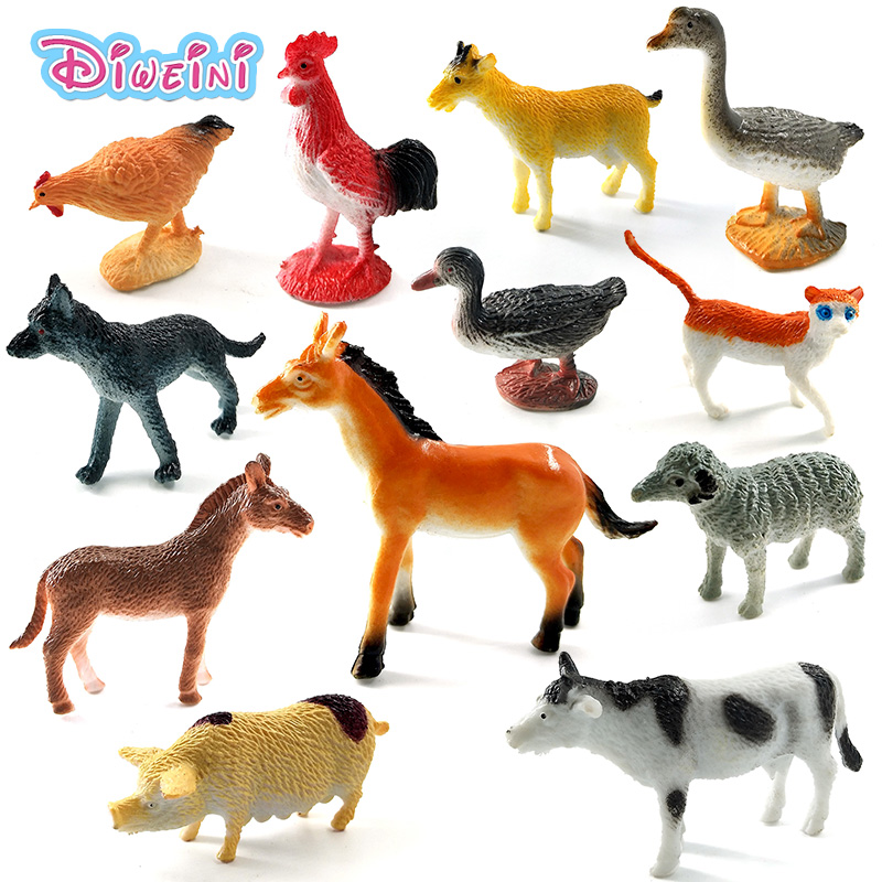 Farm animals models figures figurines set toys small plastic Simulation horse cat dog cow pig sheep Chicken duck Gift For Kids 6pcs simulated farm animal horse sheep