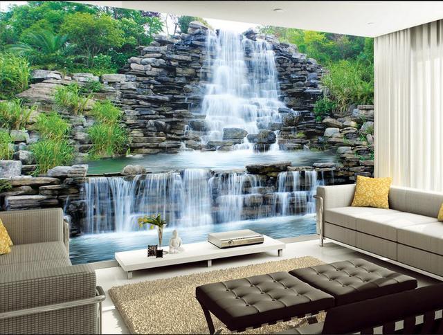 3d papier peint pour chambre Cascade paysage toile de fond salle