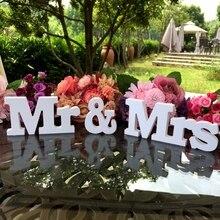 Decoración de boda signo Mr & Letras Mrs de madera en blanco para Decoración de mesa de amor