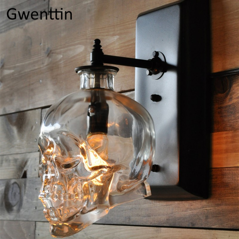 Vintage Glass Bottle Skull Wall Lamps Pipe Wall Sconce Mirror Lights for Bedroom Industrial Lamp Home Decor Lighting FixturesVintage Glass Bottle Skull Wall Lamps Pipe Wall Sconce Mirror Lights for Bedroom Industrial Lamp Home Decor Lighting Fixtures