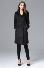 Celebrity Fashion Style Extra Long Design Woolen font b Jacket b font Metal Chain Decorated Long