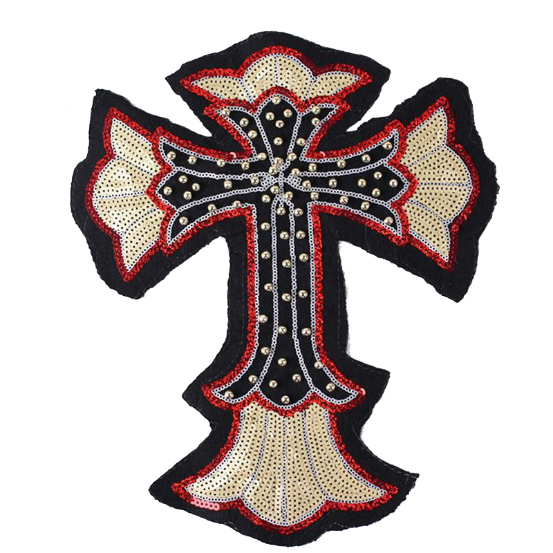 T shirt Women sequins patches for clothing 34cm cross beading patch deal with it 3d t shirt mens Christmas gift punk stickers