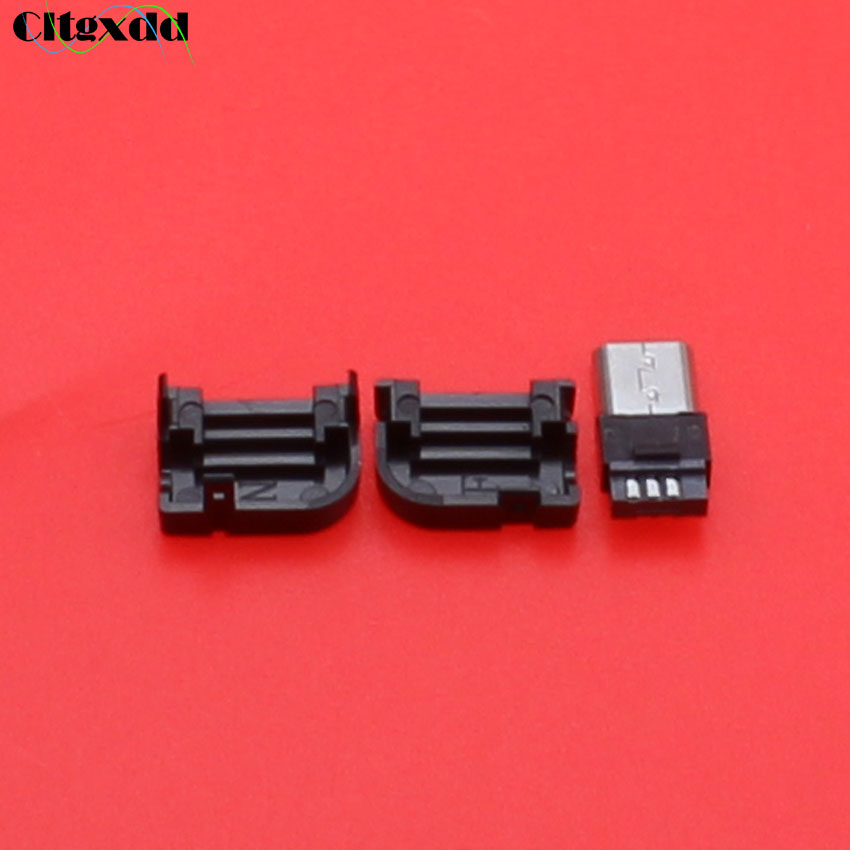 cltgxdd 5~20pcs Micro USB 90 degree male plug connector DIY Solder type Wire charge socket interface Right Angle Plastic Cover