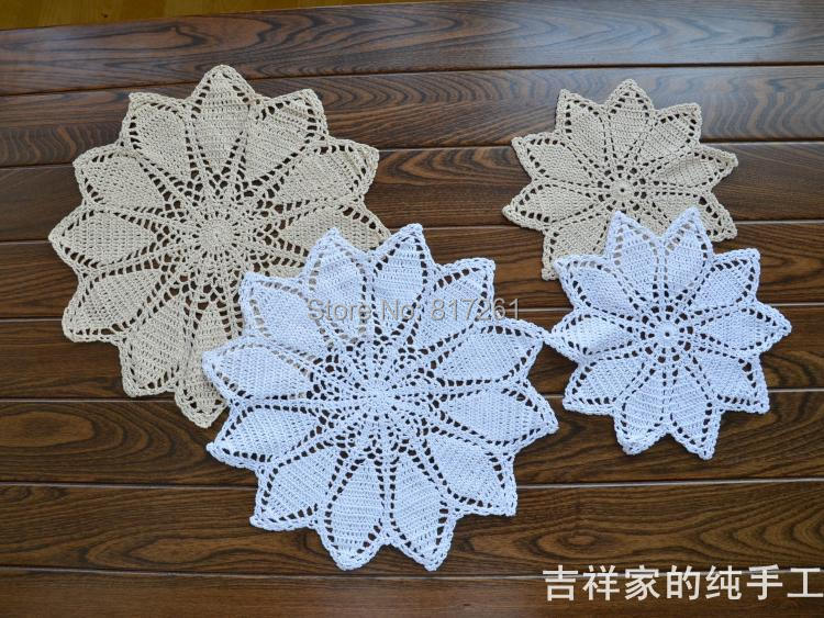 27 cm and 36cm 6 picslot cotton crocheted lace doily for wedding table mat as decorative item felt coaster pad pot holder mats