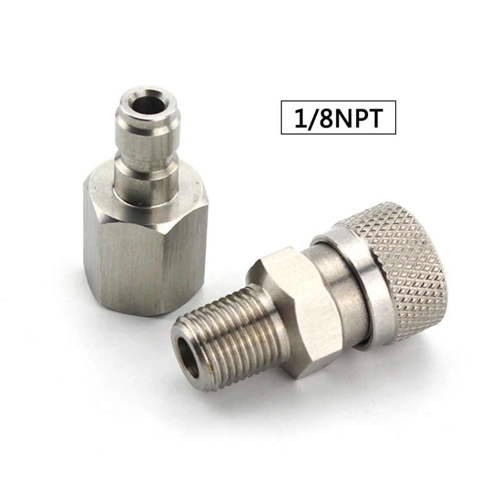 PCP Airforce Paintball Stainless Steel 1/8NPT Female Plug Connector Male Quick Disconnect Coupler Fittings Air Socket 2pcs/set