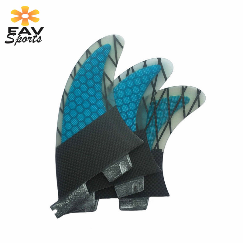 Favsports palmes de surf bleues palmes de fibre de verre de haute qualité Fcs nid d'abeille palmes de planche de surf FCS G7 ailerons taille L 3 pièces/ensemble