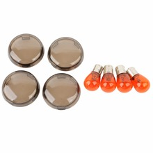 4PCS Smoke Amber Motorcycle Turn Signal Light Lens Cover With Bulbs Kit For H-arley S-oftail D-yna Sportster 2002 UP