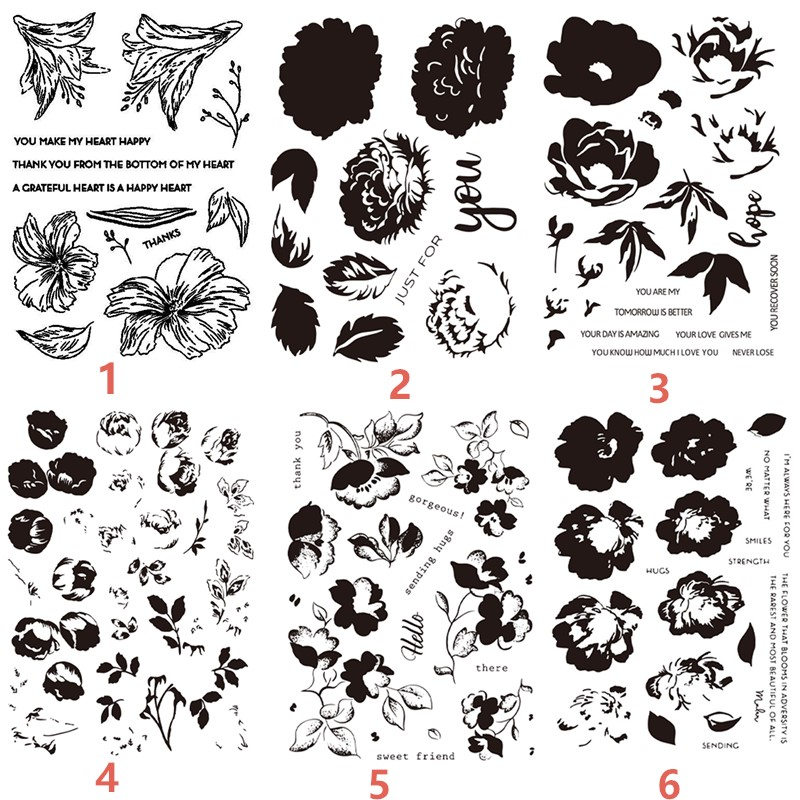 Flowers Clear Stamps Transparent Stamp and Words Cutting
