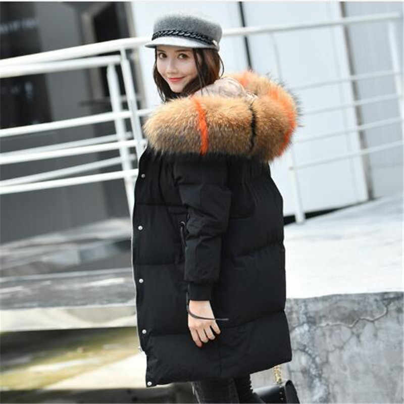 84a411170948b 90% White Duck Down Coat Female 2018 Winter Jacket Women 100% Large Real  Raccoon