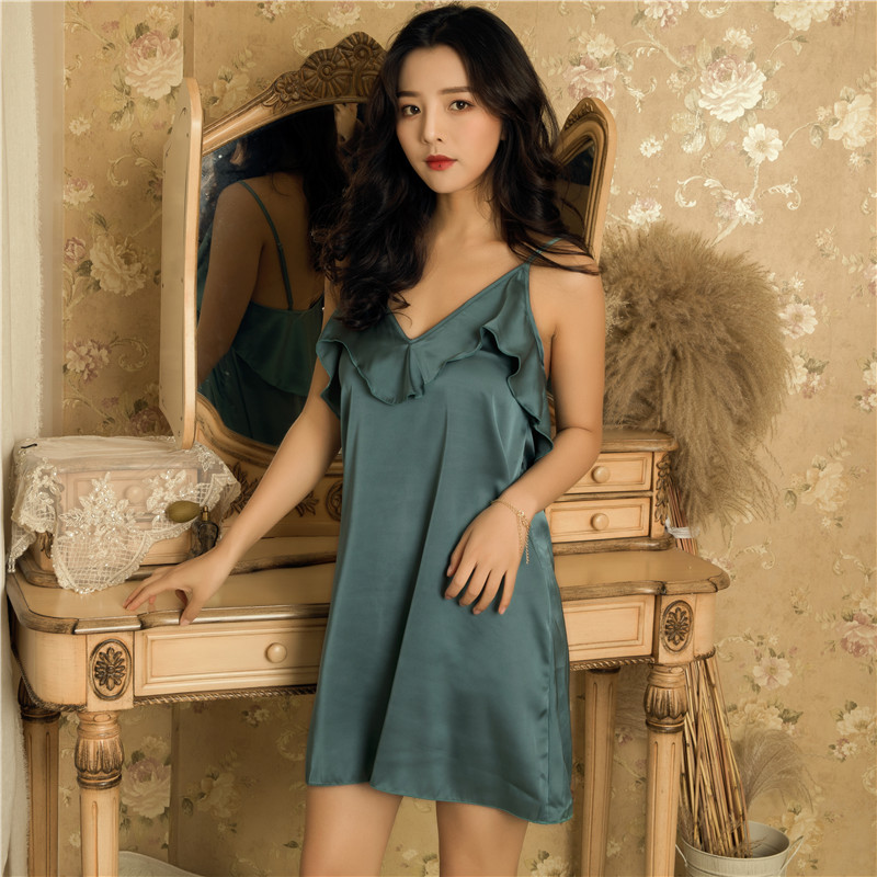 2019 Summer Women   Nightgowns     Sleepshirts   Silk Nightshirts Sleeveless Ruffles Sleepwear Satin Sexy Lingerie Nightdress Nightwear