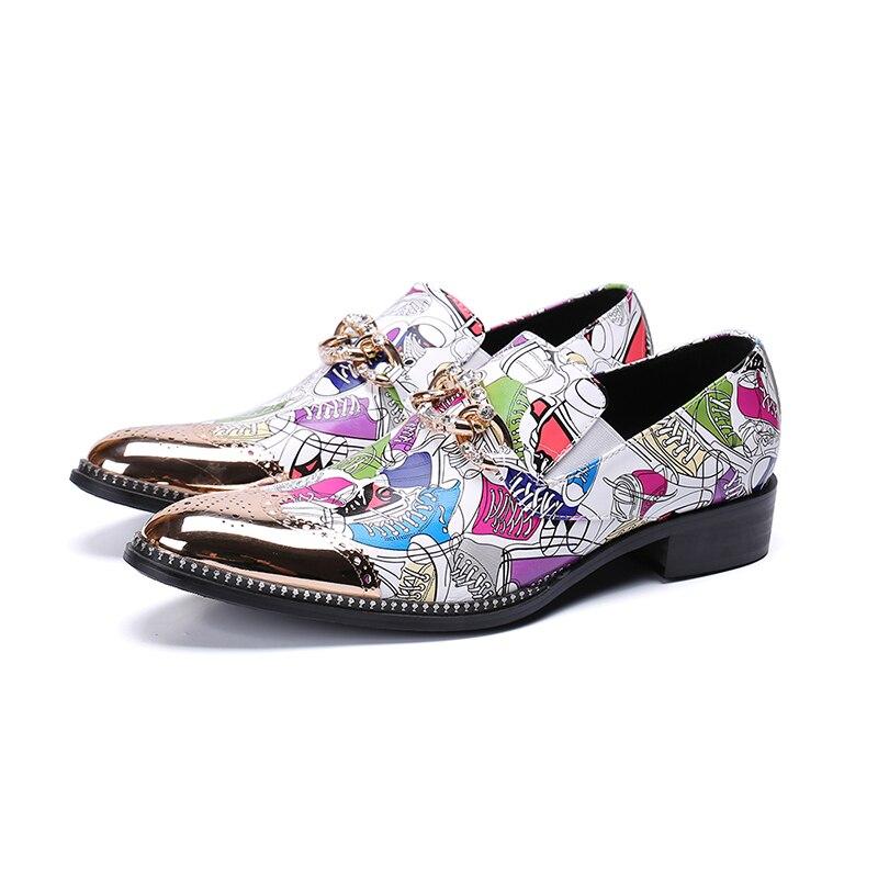 De Decoração As Cristal Buckle Picture Zapatos Couro Real Beertola On as Hombre Toe Metal Picture Cor Homens Calçados Sapatos Slip Mista Flats Casuais Rodada PpnqxztR
