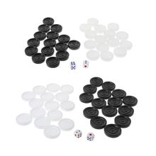 OOTDTY 30pcs Black & White Backgammon Chess Plastic International Draughts Checkers