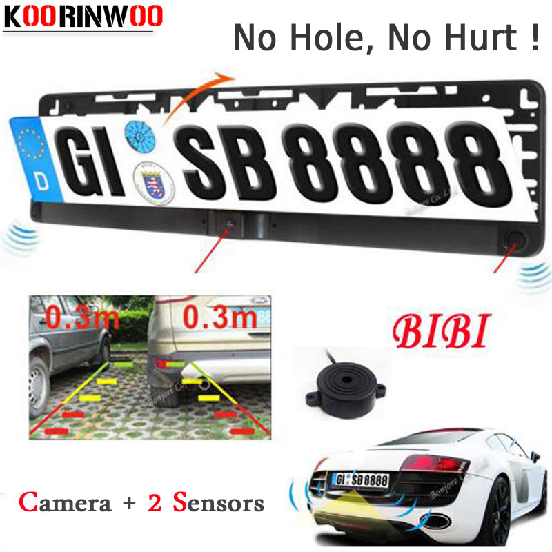 Asli Koorinwoo Dual Core CPU Sensor Tempat Letak Kereta EU EU Plate License Camera Frame Rear View Camera Reverse Cam Parking