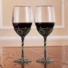 Creative Enamel Wine Glasses  Champagne Classic Gifts 2Pc Set Flutes Crystal Toasting