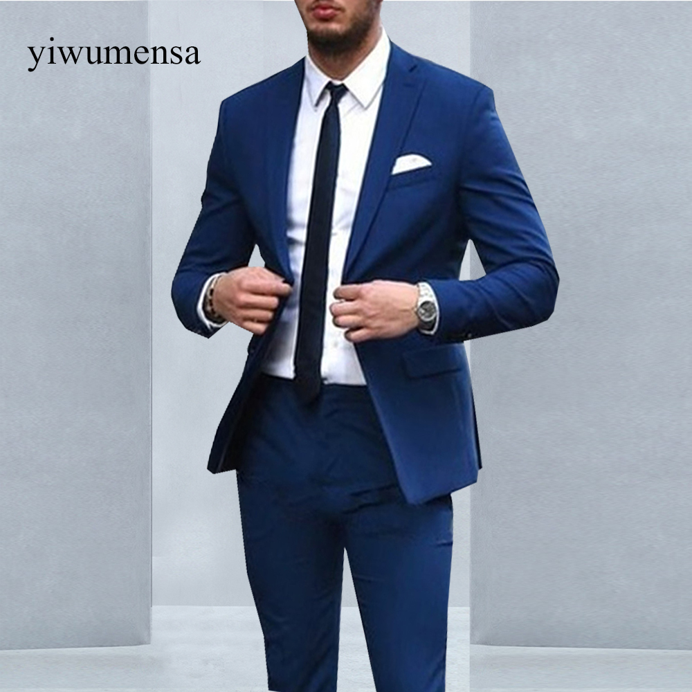 YWMS 13 Royal Blue Mens Suits costume homme Groom Tuxedos Groomsmen ...