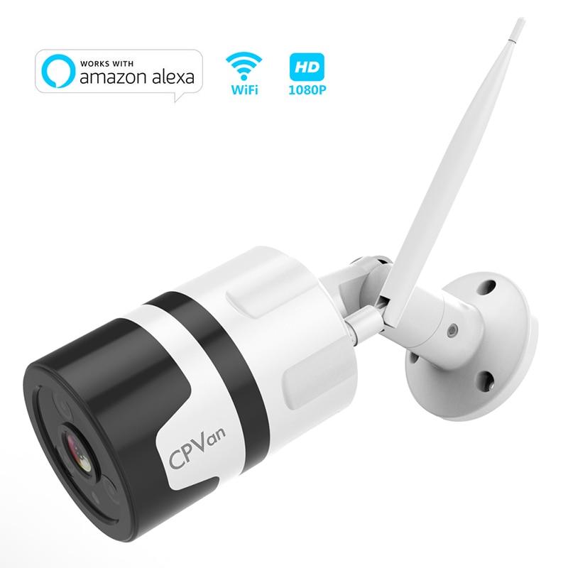 Cpvan HD 1080P wifi IP Camera Outdoor Waterproof Home Security Camera Works with Alexa Smart App