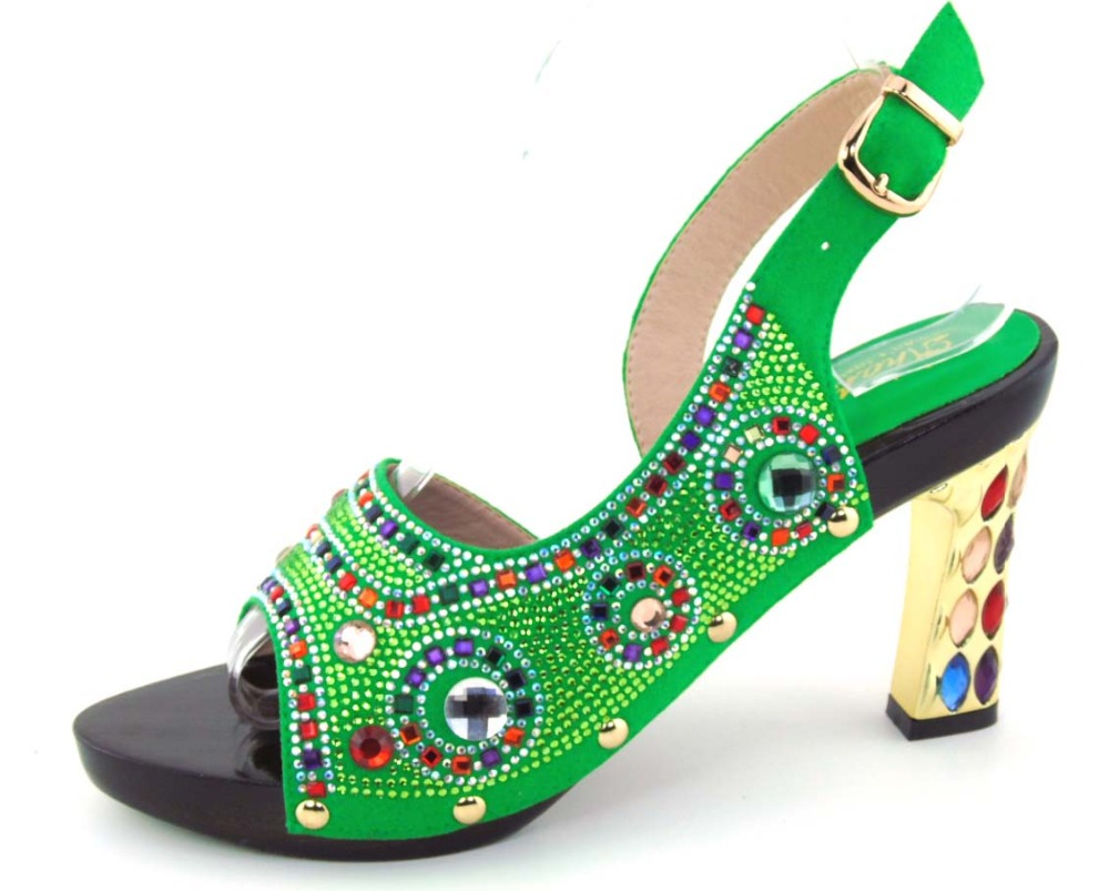 ФОТО Guaranteed quality African sandals for the party, beautiful ladies shoes with rhinestones!HOH1-42