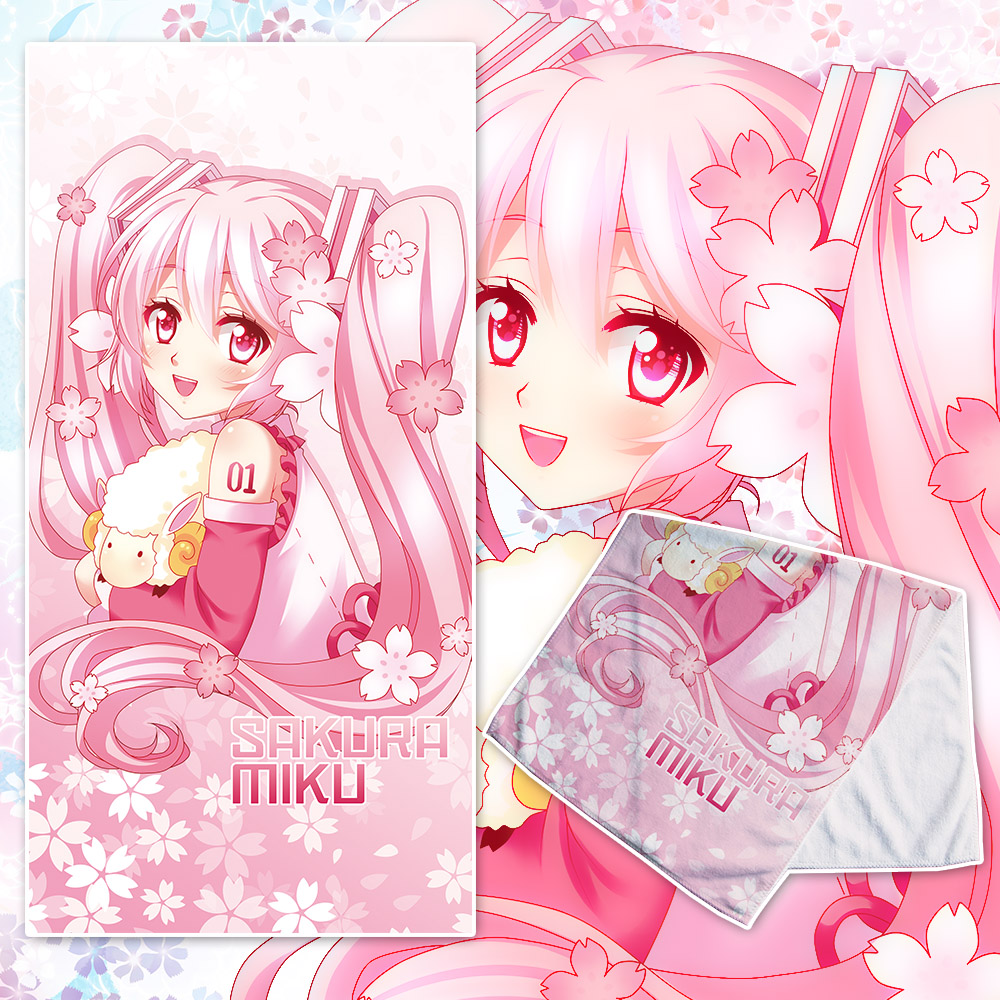 Costume Props Costumes & Accessories Anime Jk Hatsune Miku Sakura Miku Cosplay Beach Face Bath Towel Pink Japan Cartoon Girl Facecloth Washcloth Soft Cute Gift