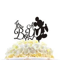 HAOCHU Hot Sale Wedding Cake Topper Couple Running Mickey Mouse Plane Christmas Acrylic Black Romantic Wedding