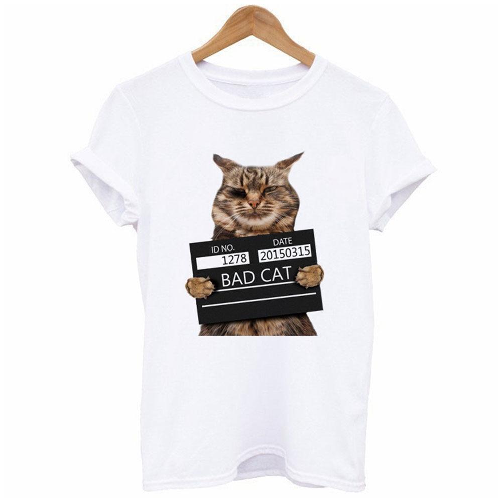 Buy Vessos Summer Sexual Crime Cat Short Sleeve T-Shirt Sleeve Print Short Sleeve T-Shirt Stylish New White Polyester Women's Short