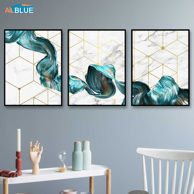 Abstract Nordic Posters And Prints Marble With Blue Gold Paint Decorative Pictures Wall Pictures For Living Room Geometric Decor