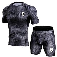 Men Gym TrackSuit Train Stretch Sport T Shirt Suit Set Trousers Pants Cycling sweatsuit  Elastic Waist