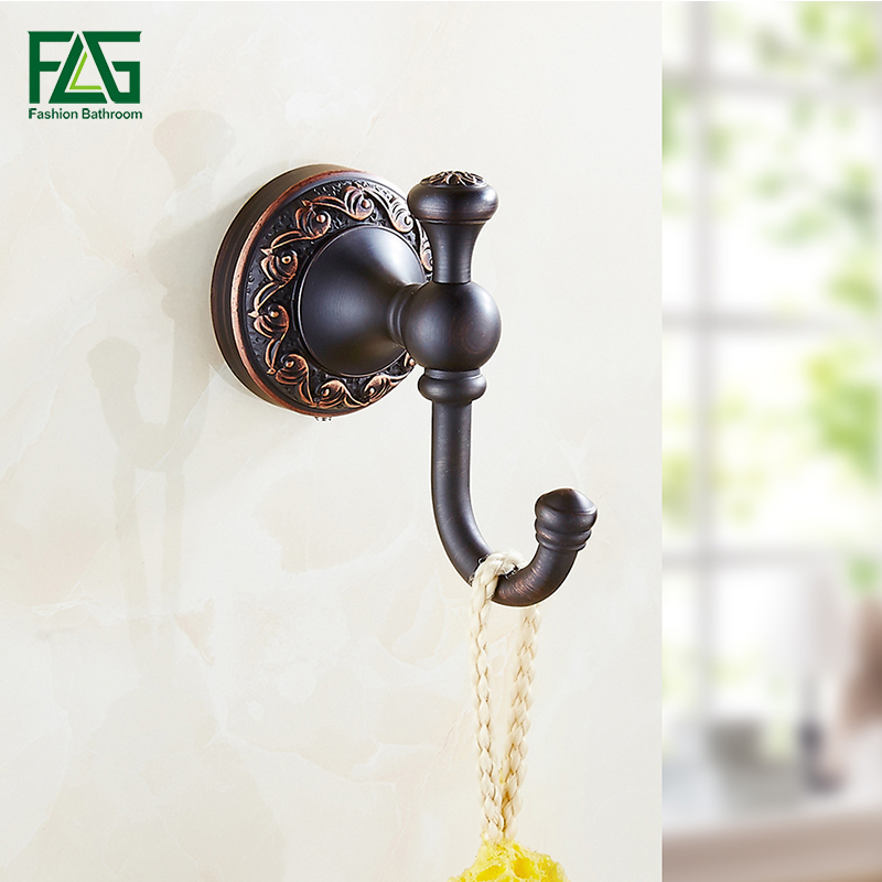 FLG New Robe Hook Clothes Hook Solid Brass Construction Oil Rubbed Bronze Black Bath Hardware Accessory Home Decoration 91301A