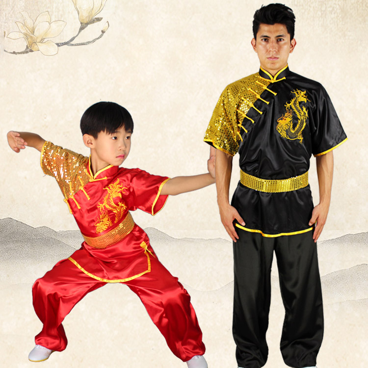 Wushu Fighting Show Clothes Competition Kungfu Sequins Embroidered Dragon High-end Nanquan Clothing Long Fist Stretch Silk Suits