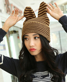Супер милый большие уши вязание фланцы cap мода коллокация сладкий женский hat 1 шт. новое приходят